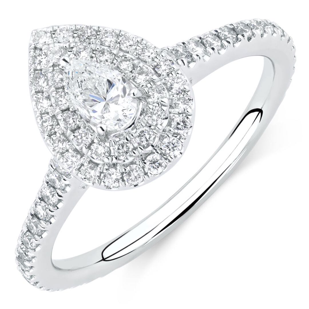 Michael Hill SIZE O Engagement Ring 0.87 Carat Diamonds in 14ct White Gold