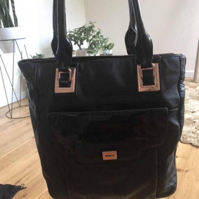 Mimco black leather tote bag