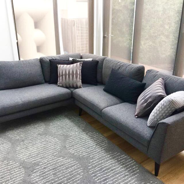 MODERN CONTEMPORARY GREY FABRIC MODULAR SOFA WITH RIGHT CHAISE FROM FREEDOM