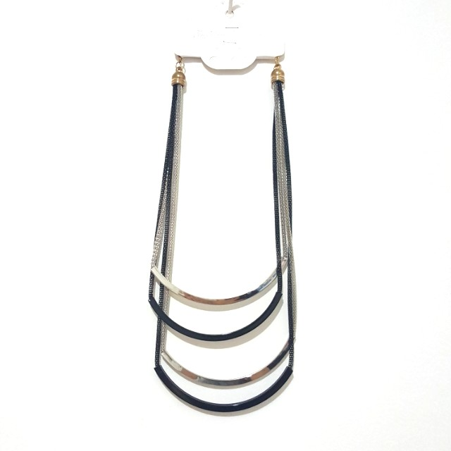 (NEW) Black Silver Statement Necklace / Kalung Aesthetic