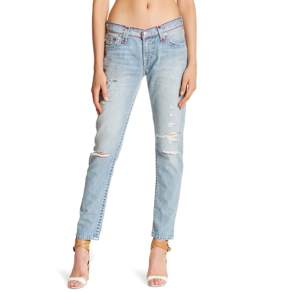 New True Religion Audrey Slim Boyfriend Super T Jeans