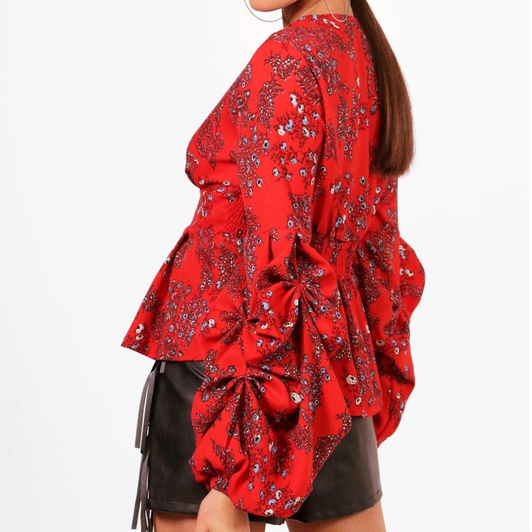 Niamh Floral Plunge Ruffle Sleeve Top - Size 8 (New)