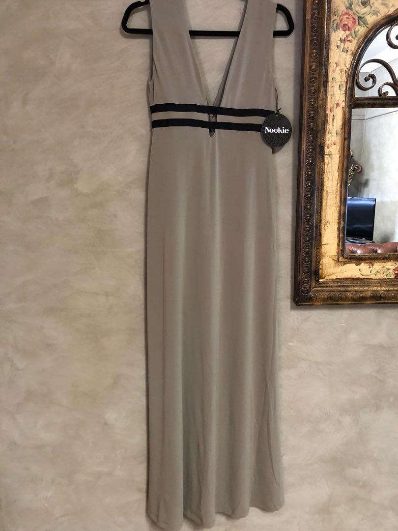 Nookie bellissima strap maxi dress khaki size 12