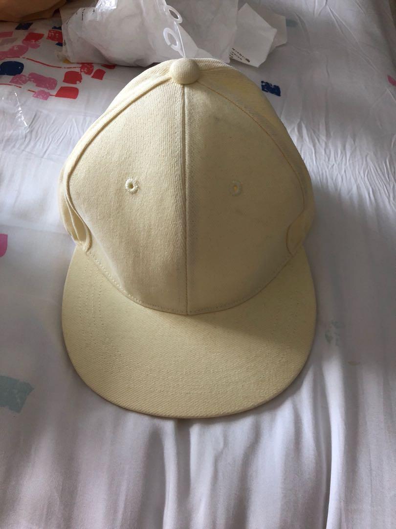 Pastel yellow cap hat