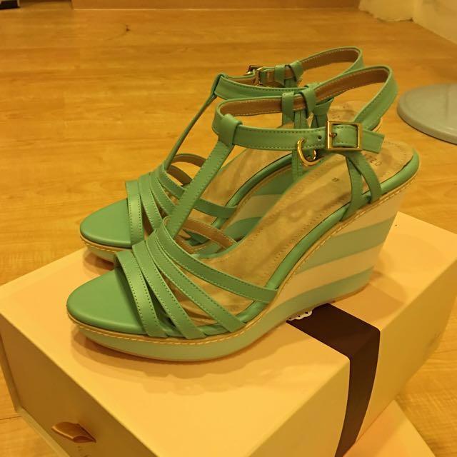 《降》全新PAZZO蒂芬妮綠甜美楔形鞋 37