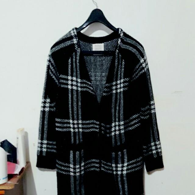 PAZZO古著 格紋毛線大衣 毛衣 外套 罩衫 復古中長款外套#超取再七折