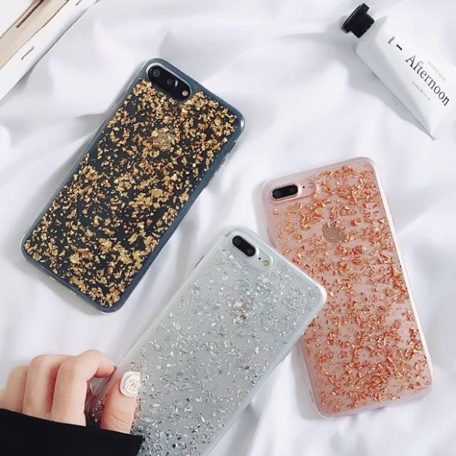 PO(139) Gold Silver Rose Gold Flakes Transparent Samsung iPhone Case ... d41c94258