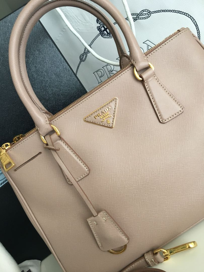 PRADA Cammeo Saffiano Lux Leather Double Zip Small Tote Bag BN1801