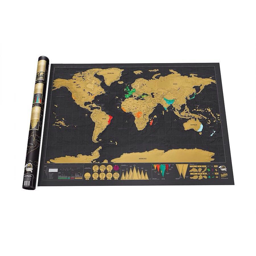 (READY STOCK) Scratch Off World Map Travel Poster