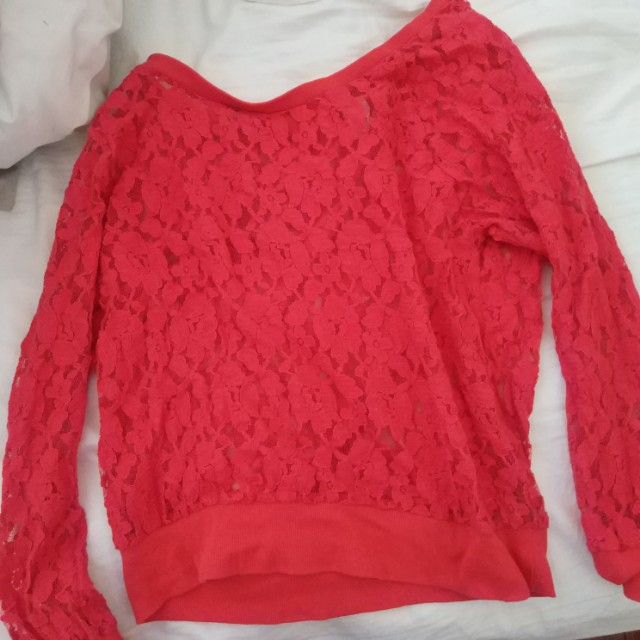 RED FLORAL LACE LONG SLEEVE