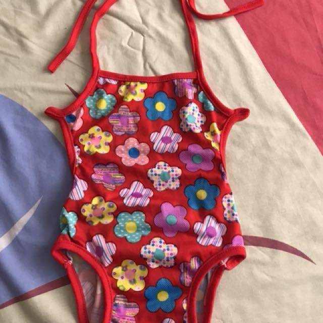 Red floral swimsuit 3-6months