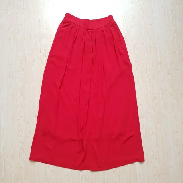 Red long skirt rok panjang merah