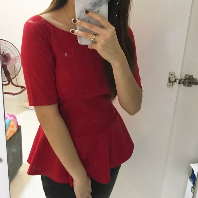 Red peplum offshoulder top