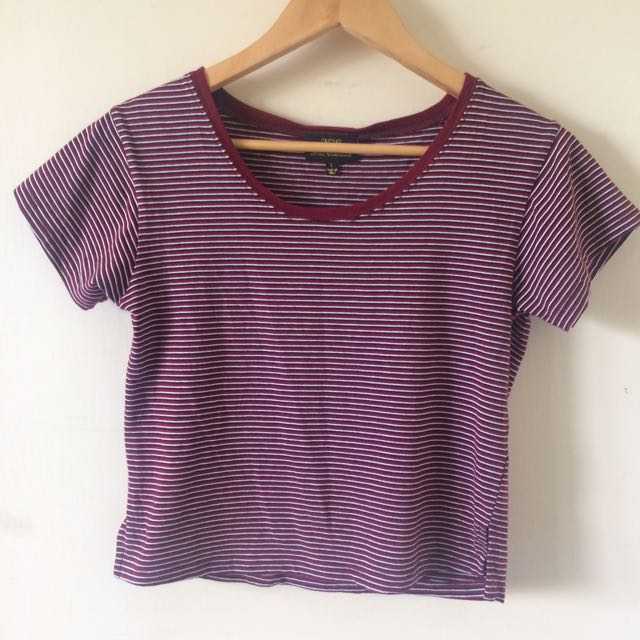 Red stripe crop top, size large