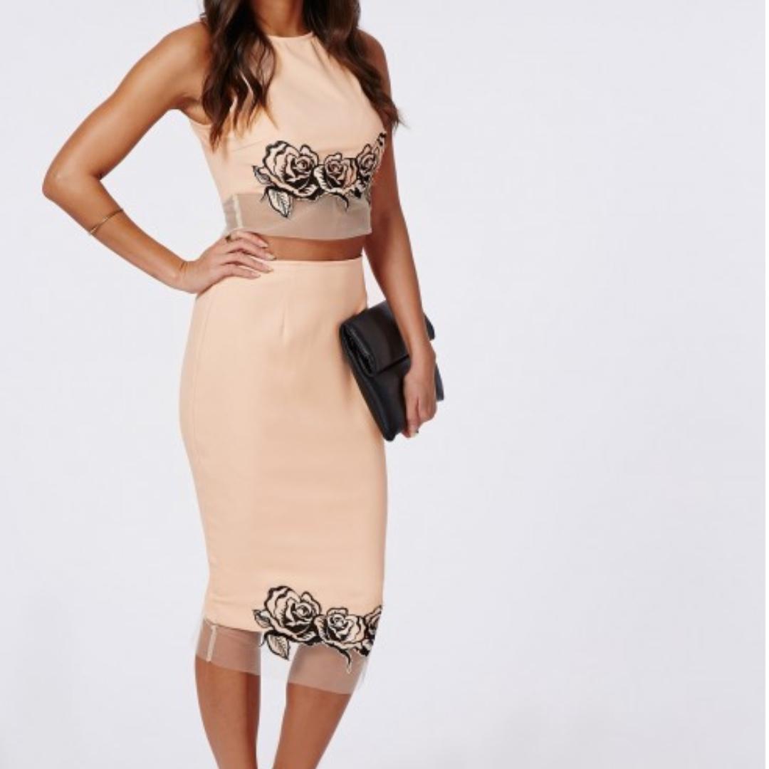 Rose Embroidered Mesh Hem Midi Skirt & Crop Top Set - Size 6