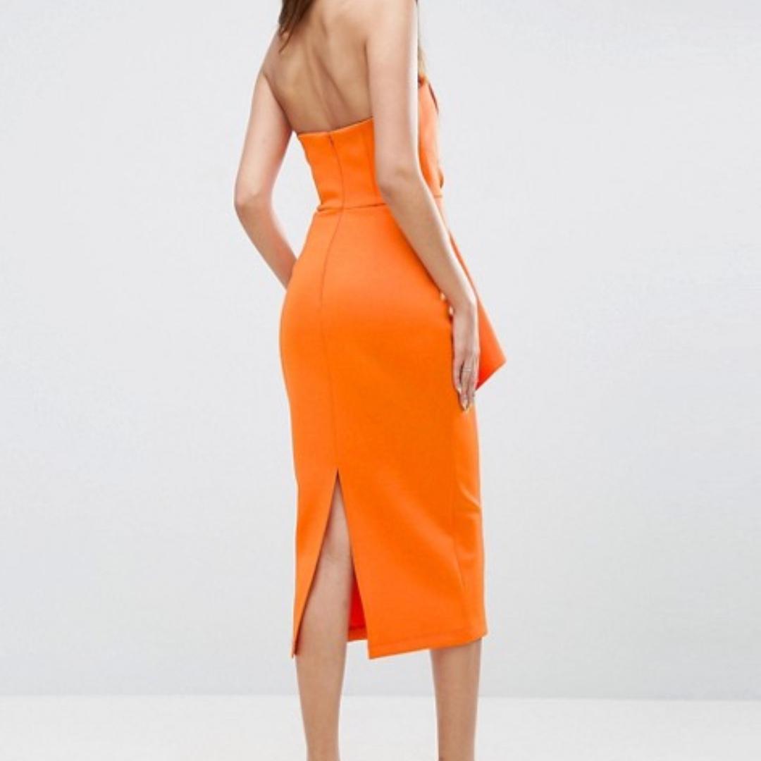 Scuba Folded Peplum Midi Dress