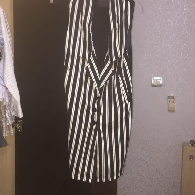 Stripe Long Vest
