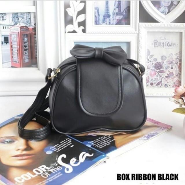 Tas box ribbon black