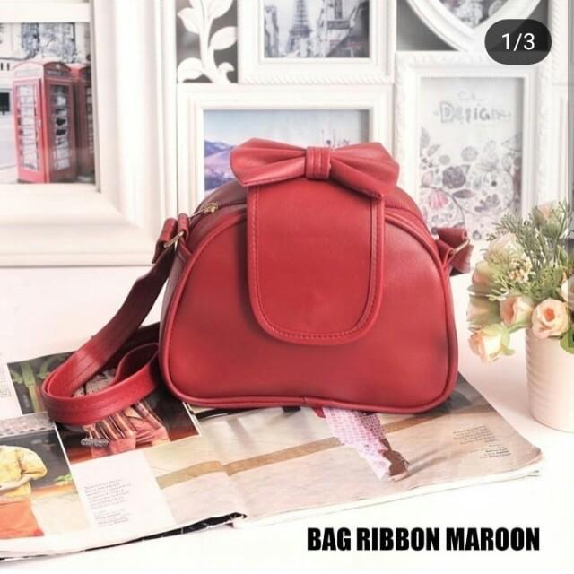 Tas box ribbon maroon
