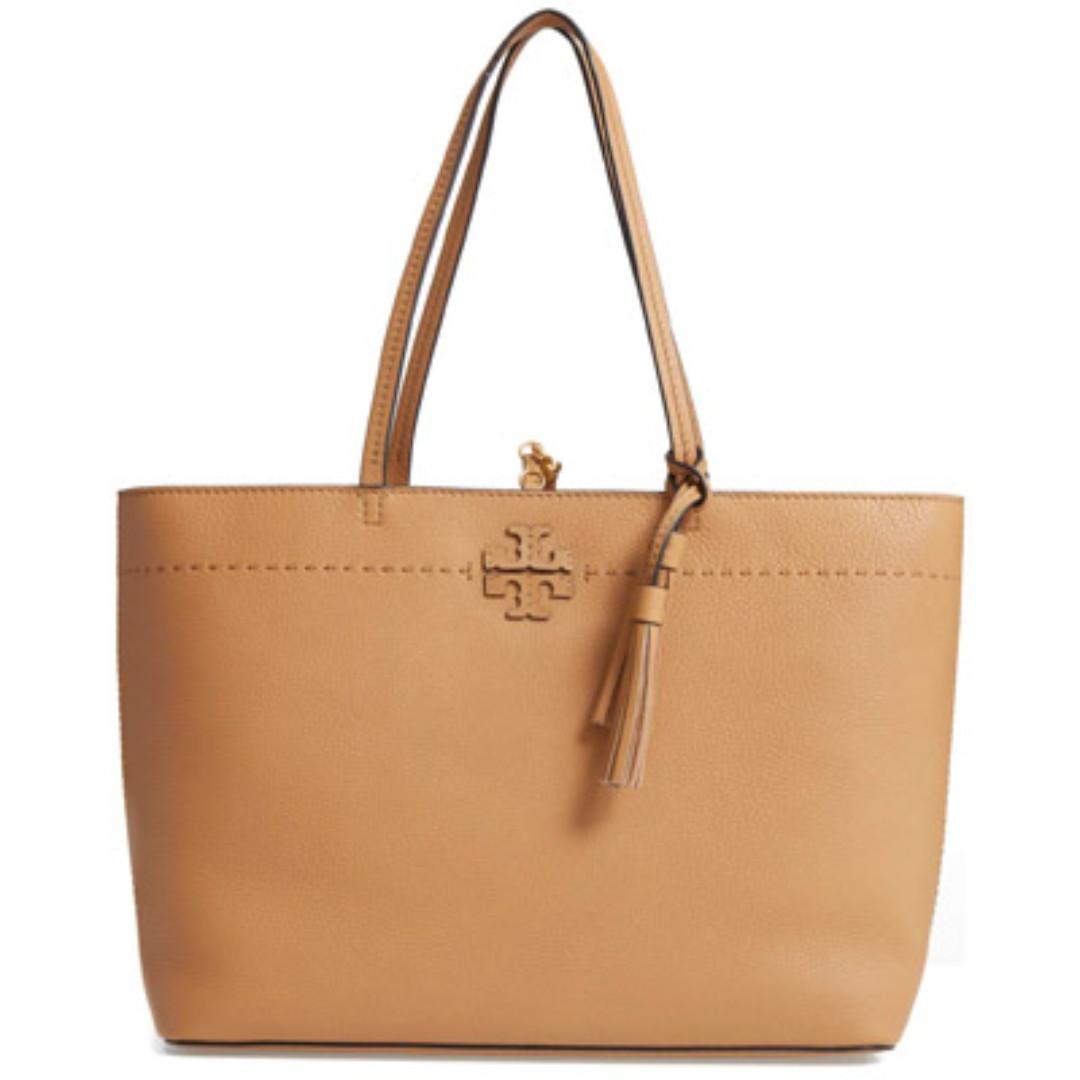 dd3419bdcaac Tory Burch McGraw Pebbled Leather Tote Bag (Khaki)