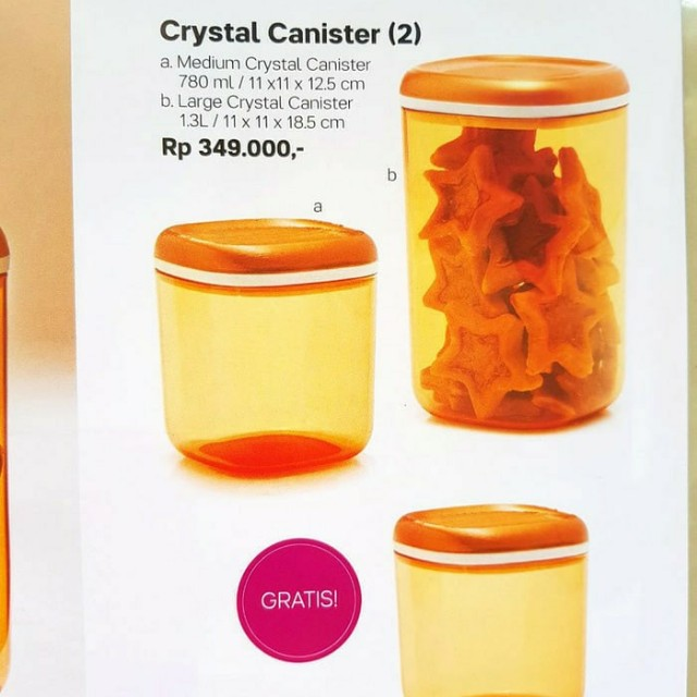 TUPPERWARE CRYSTAL CANISTER 3 TOPLES