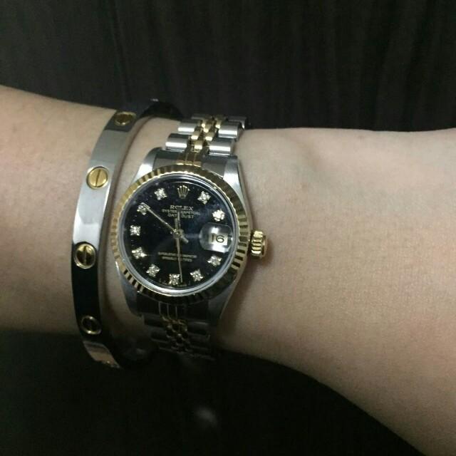 Two tone ladies Rolex datejust black face with Original diamond dial