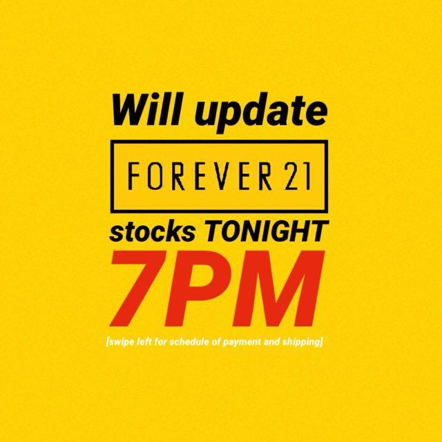 UPDATING FOREVER 21 STOCKS