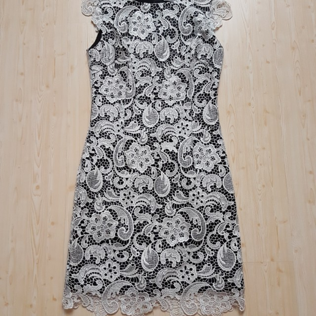 White black lace dress Klimeda
