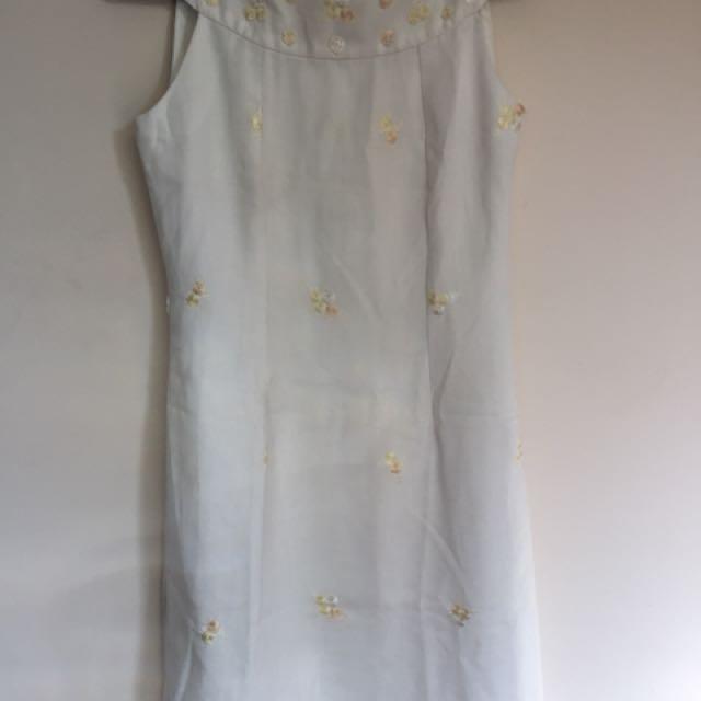 White cocktail length dress
