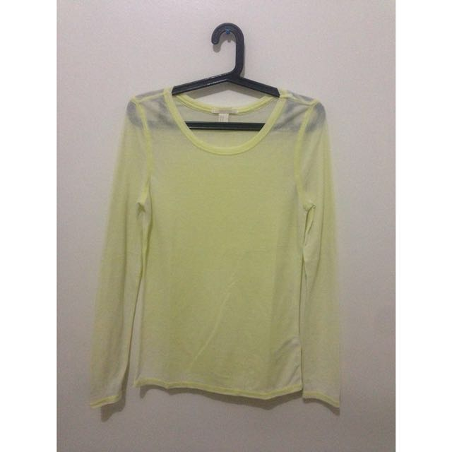 Yellow Long Sleeves See Through Top