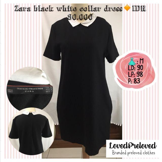 Zara black and white collar dress