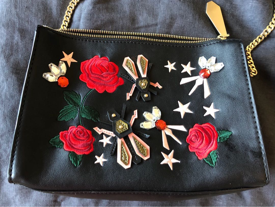 Zara embroidered embellished crossbody bag