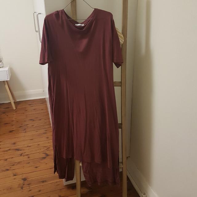 Zara Maron Dress With Split At The Back