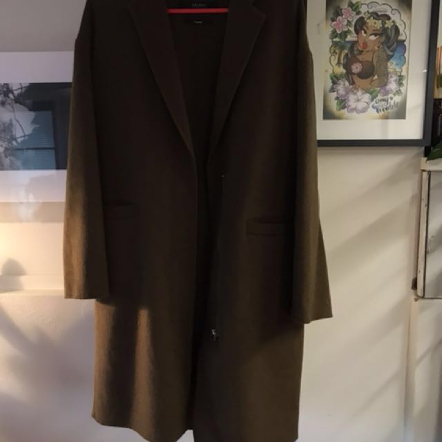 Zara olive green wool coat