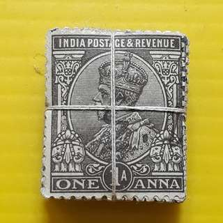 BRITISH INDIA - King GOERGE V -  1 ANNA - 100 Stamps LOT ( 1 BUNDLE ) - Used & RARE - Colonial