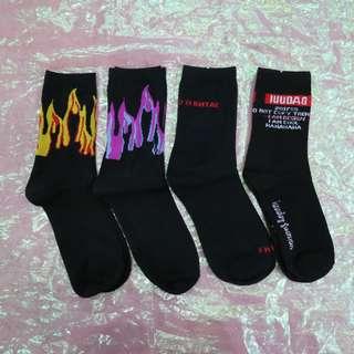 火焰/英文造型中性襪