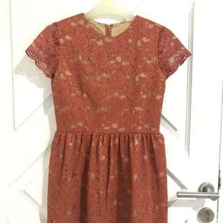 Atasan / Mini Dress Brokat Orange Bata