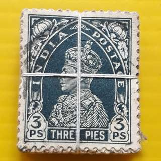 BRITISH INDIA - King GOERGE VI -  3 PIES ( OLD DESIGN ) - 100 Stamps LOT ( 1 BUNDLE ) - Used & RARE - Colonial