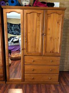 Wooden Dresser with Mirror
