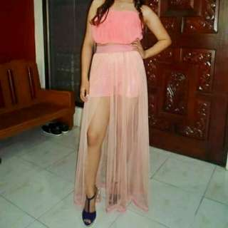 FOR RENT: Peach Long Gown