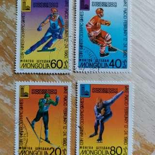 蒙古郵票1980年冬季奥運動会已銷郵票4枚