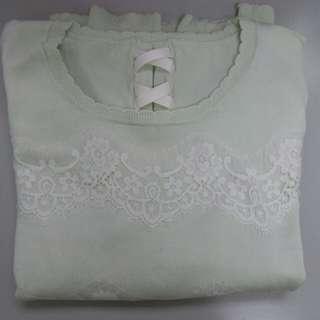 🅰春季最hit淺綠色蕾絲針織top