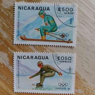 尼加拉瓜郵票1993年冬季奥運動会已銷郵票2枚