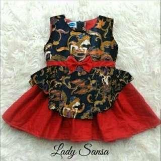 Dress Red Wayang Kids Sansha