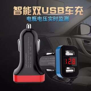 🚚 (多功能車充)LED顯示器雙USB車充 多功能智能檢測汽車電瓶電壓數據充電器