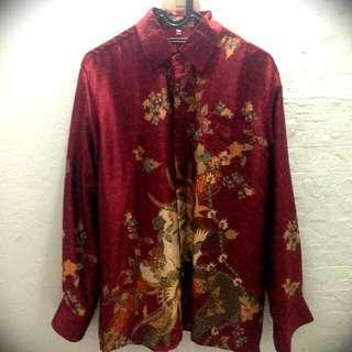 Red Silk Batik Long Sleeves. Brand: Samara