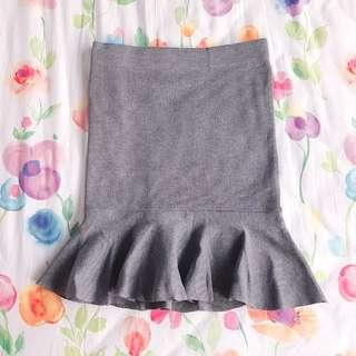 Mermaid Flutter Hem Knitted Skirt (Slate Grey)