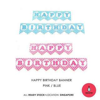 Happy birthday banner pink/blue