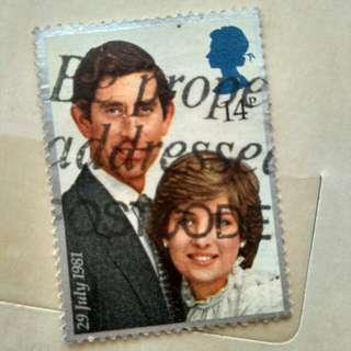 Filatelli (perangko) Lady Diana dan Prince Charles