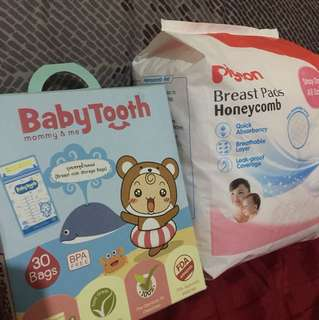 Bundle: Babytooth milk bag and Pigeon Breast Pads